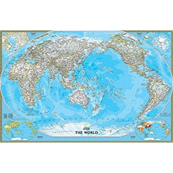 National Geographic World Map Murals.National Geographic S Pacific Centered Political World Map Wall