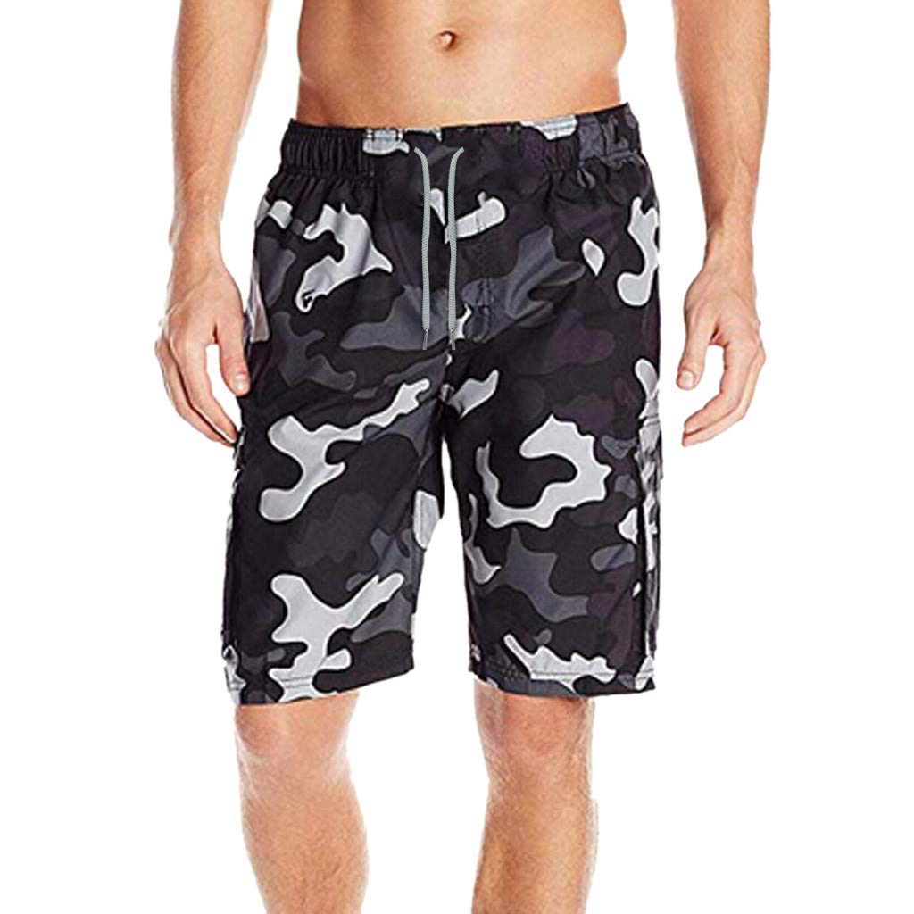 iLXHD Men Beach Shorts Camouflage Splice Beach Work Casual Short Trouser Swimming Shorts Pants