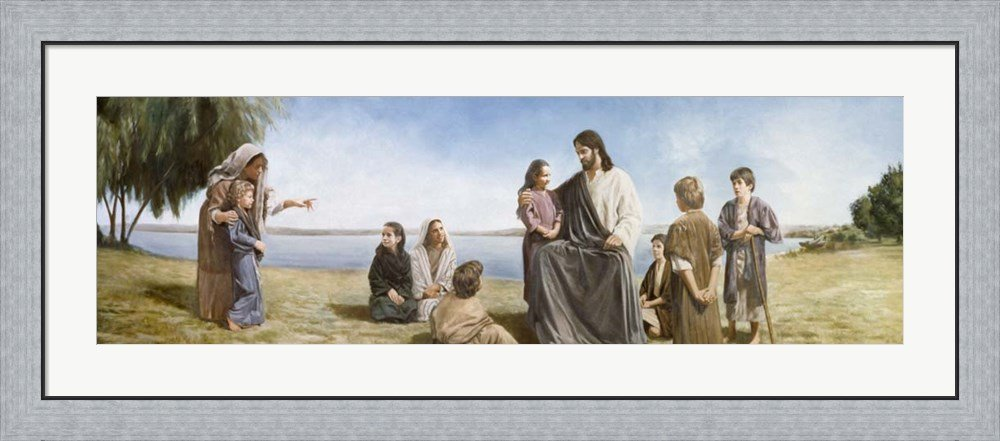 Jesus With Children by David Lindsley Framed Art Print Wall Picture, Flat Silver Frame, 44 x 20 inches