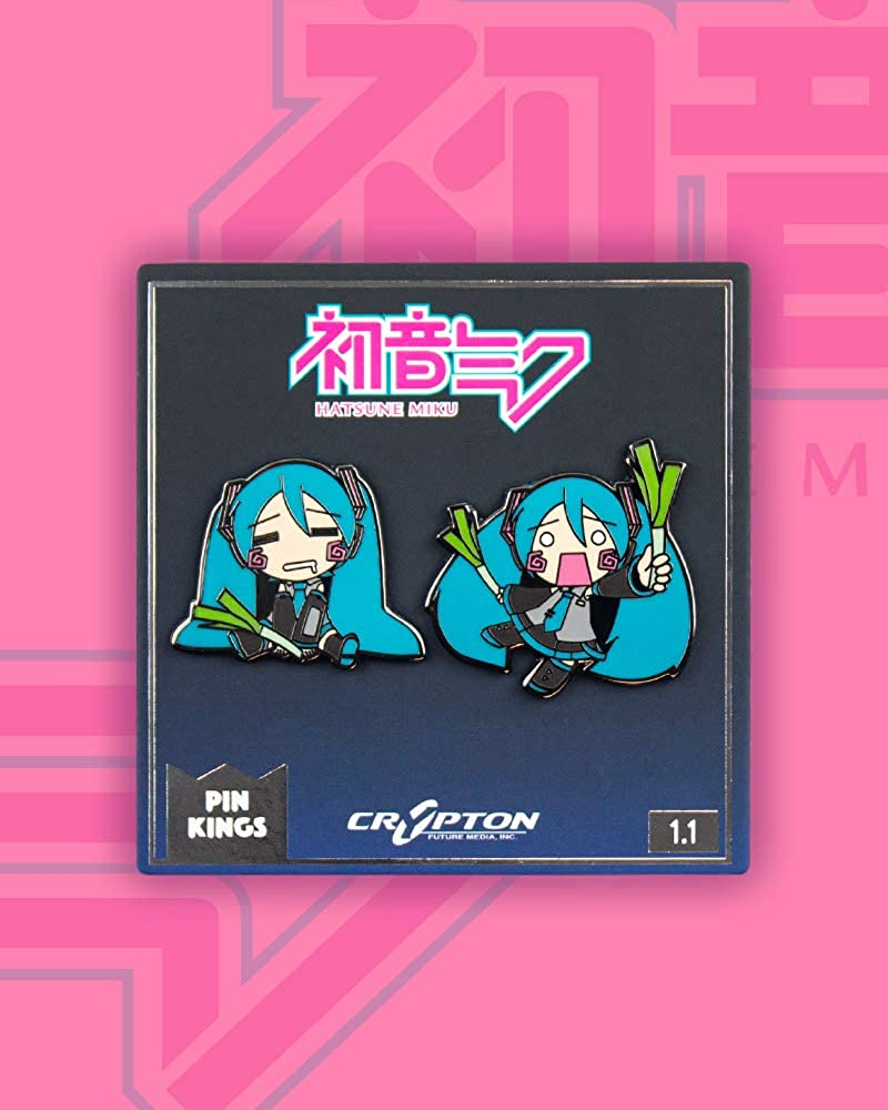 Set of Two Enamel Pins on a Backing Card Pin Kings Official Hatsune Miku Chibi Collectible Metal Enamel Pin Badges Official Merchandise