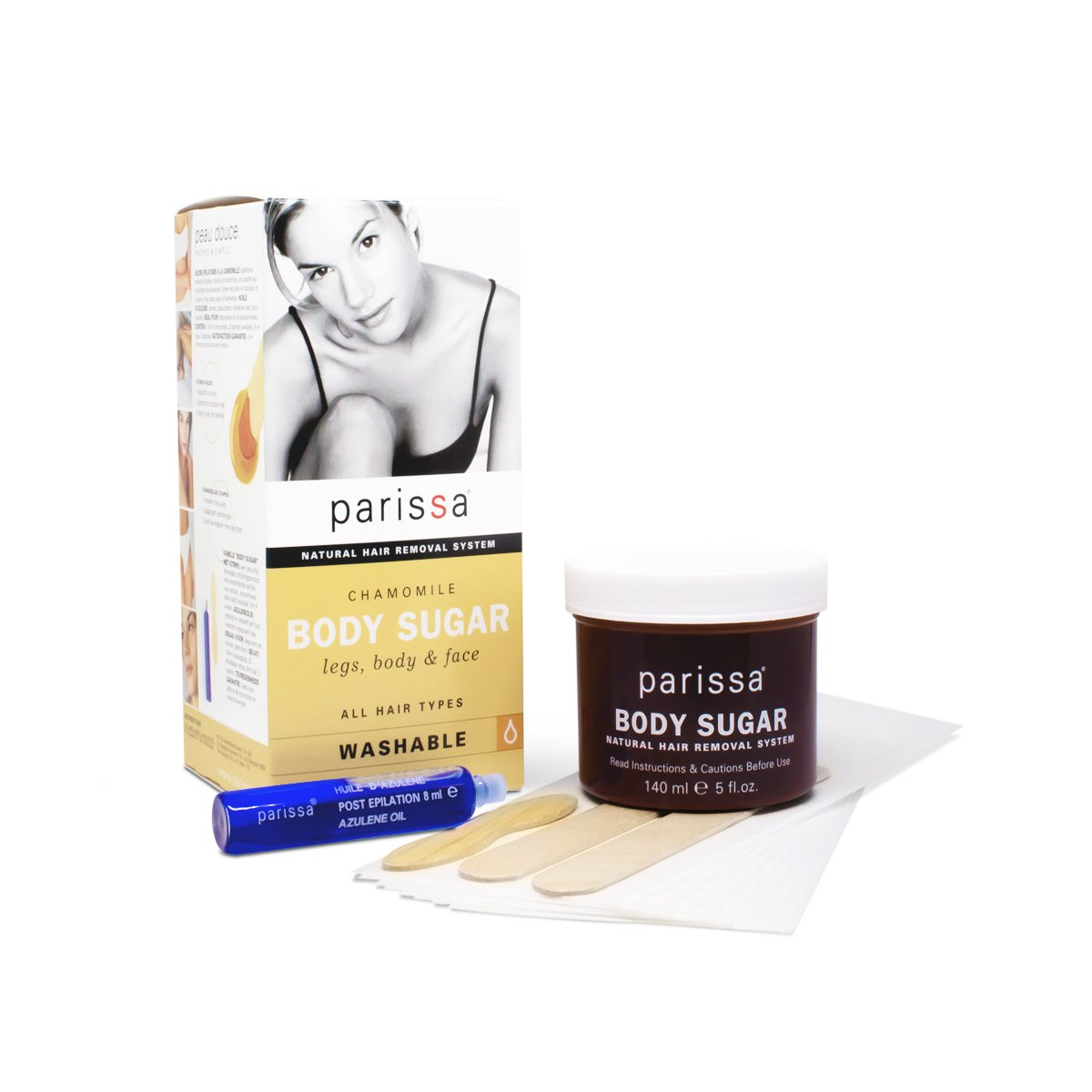 Parissa Chamomile Sugar Wax (Cold Wax), Waxing Kit for Hair Removal, 140ml (5 oz) Wax, Fabric strips, Spatulas & After-care Oil S170