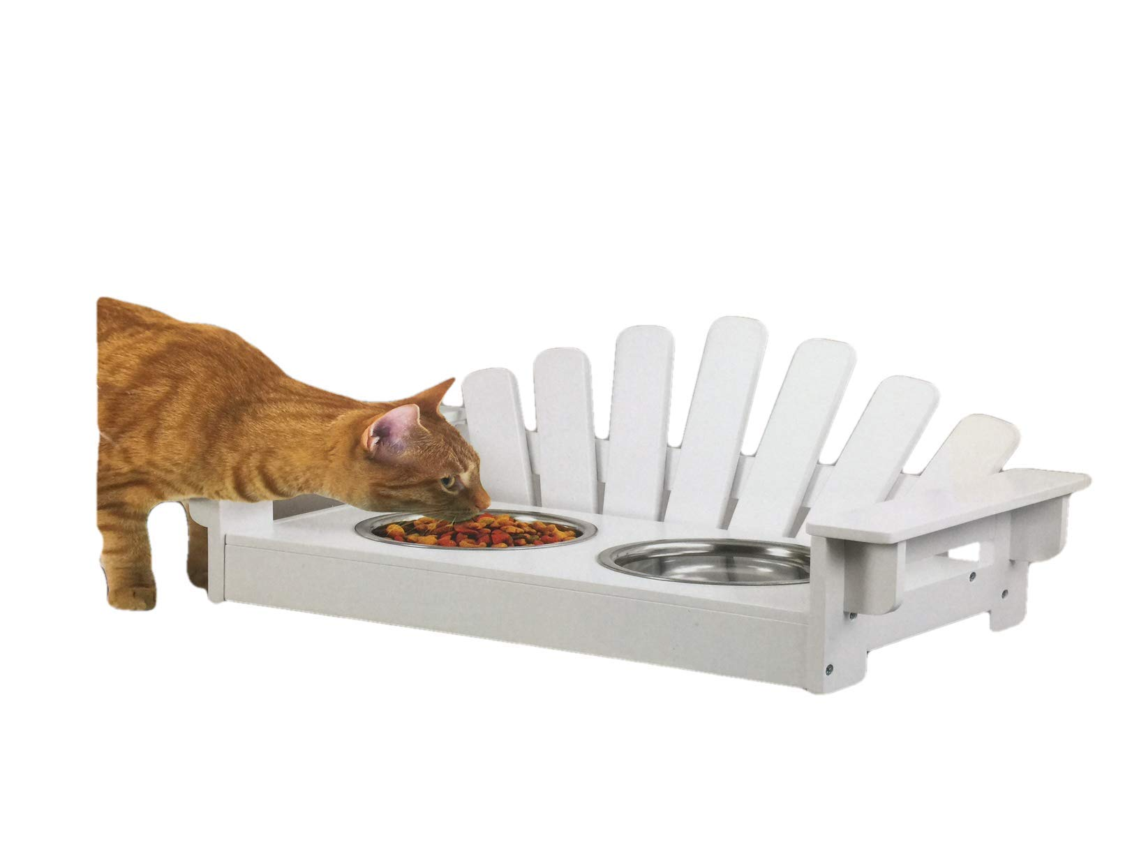 Wood Adirondack Pet Feeder for Dogs and Cat