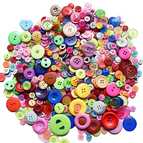 600 Pieces 2 and 4 Holes Assorted Color Resin Buttons for Arts, Crafts, Sewing and Decoration, 10.5 Oz
