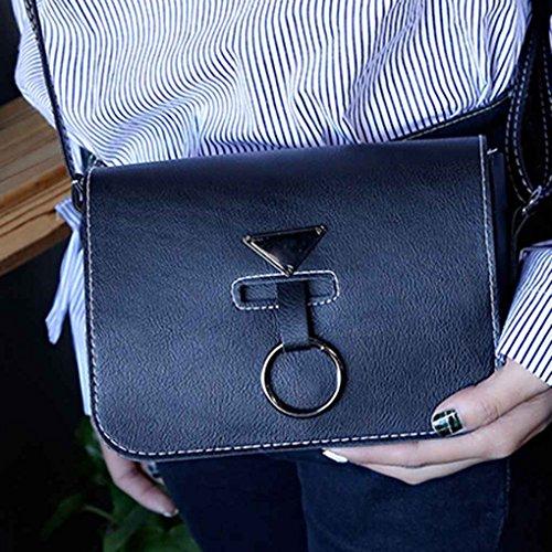 Bababy Winkel Ring Square PU Leder Schultertasche Solid Color Quaste Crossbody Messenger Bag Rosa 20*16*6cm(bag), 125cm(shoulder strap)