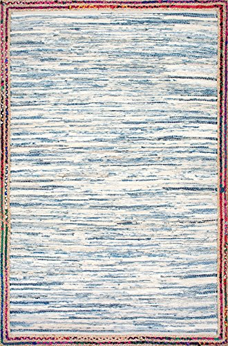 nuLOOM Elena Braided Border Jute Rug, 4' x 6', Light Blue