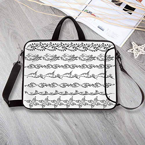 """(Henna Neoprene Laptop Bag,Fantasy Spring Blossoms Abstract Display Traditional Borders Collection Monochrome Decorative Laptop Bag for Office Worker Students,15.4""""L x 11""""W x 0.8""""H)"""