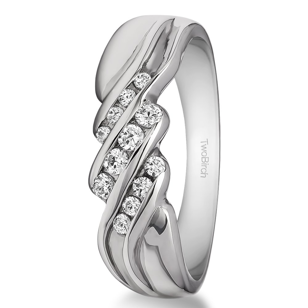 0.32Ct G-H,I2-I3 Sterling Silver Mens Wedding Band Diamonds Size 3 to 15 in 1//4 Size Intervals