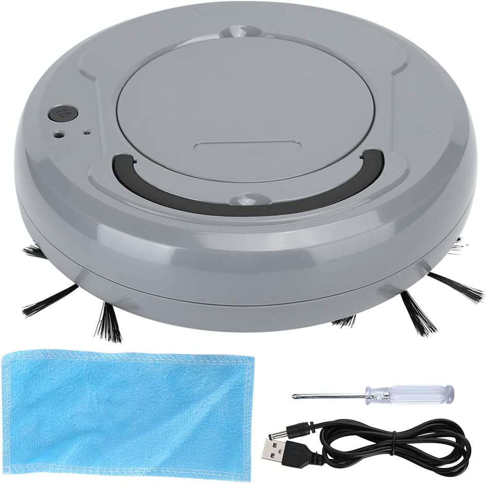 400ml Vacuum Cleaner Smart Sweeper, Smart Sweeper USB Vacuum Cleaner with Large Capacity 1200Mah Built‑in Battery Super‑Thin Sweeper Vacuum Robot for Pet Hair, Medium-Pile Carpet(Gray)