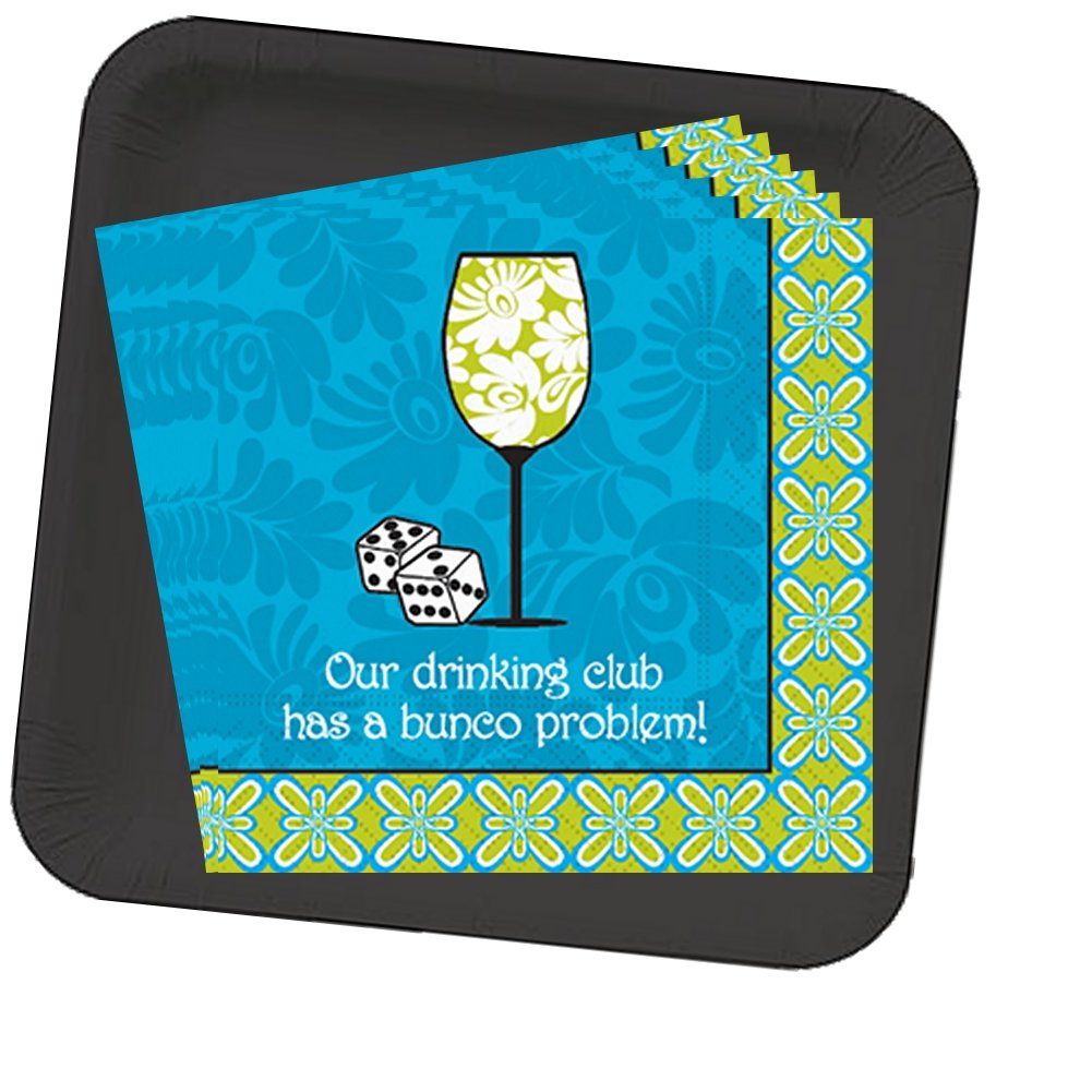 Bunco Napkins and Black Plate set - Our Drinking Club has a Bunco Problem