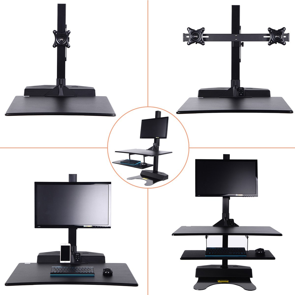 Standing Desk Riser, Freemaxdesk Electric Power Remote Control Height Adjustable Sit to Stand Desk Converter with Monitor Vesa Mount ,Worksuface(26''x21'') by freemaxdesk (Image #4)