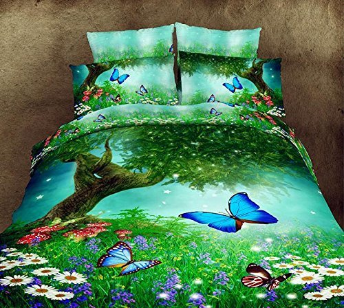 Spring Thick Growth of Grass Color Butterfly 100% Cotton Queen Size 3d Print Bedding Set (1 Duvet Cover + 1 Bed Sheet + 2 * Pillow Case)