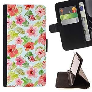 BullDog Case - FOR/Samsung Galaxy Note 4 IV / - / floral pattern mint pink red green /- Monedero de cuero de la PU Llevar cubierta de la caja con el ID Credit Card Slots Flip funda de cuer