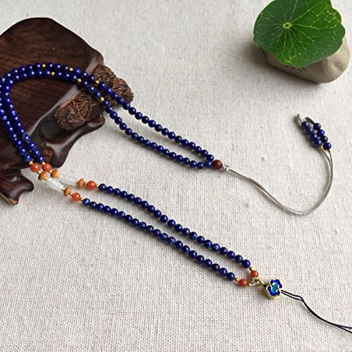 TKHNE Lapis hand-woven rope lanyard neck rope necklace pendant jade necklace pendant rope with cloisonne men and (Lapis Rope Earrings)
