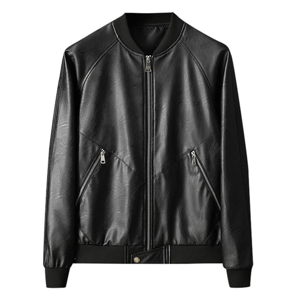 Sagton Men's Casual Motorcycle Faux Leather Jacket Retro Long Sleeved Slim Fit Jacket Coat Black XXXL by Sagton-Men Coat