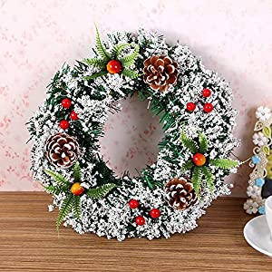 DENTRUN Christmas Wreath Whitehall Decorated,Handmade Festival Simulation Flowers Decoration Wedding Celebration,Winter Red Berry Holiday Versatile Design, Christmas Artificial Door Wreaths 2