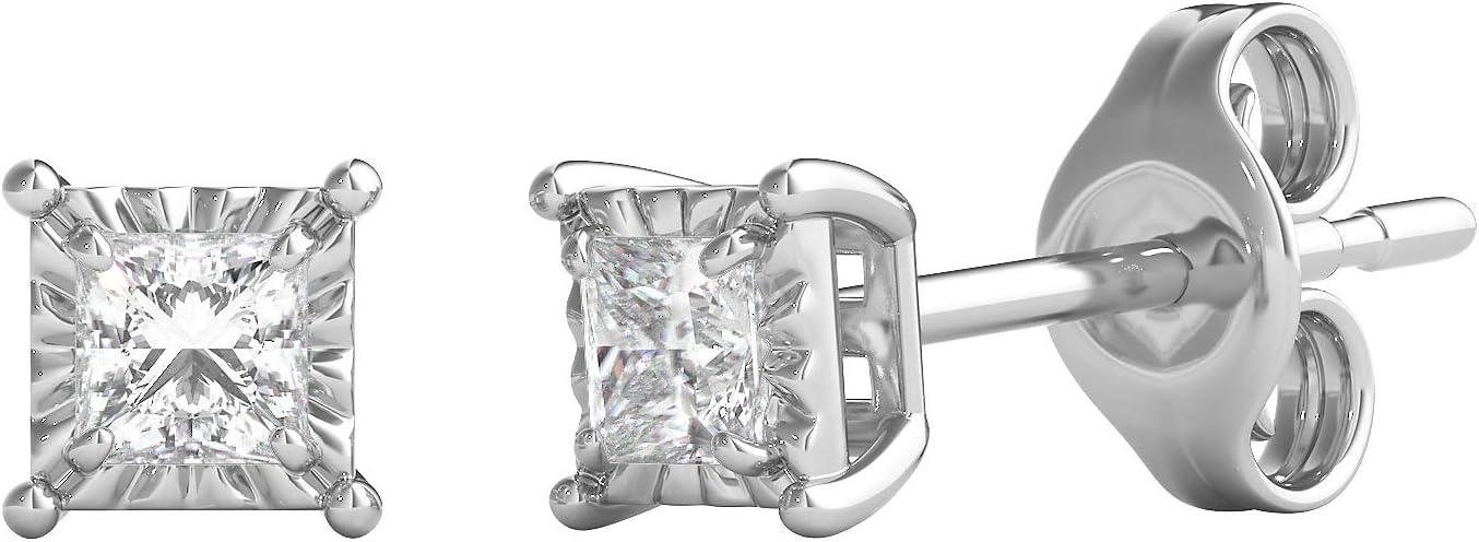 Helzberg Diamonds Sterling Silver 1/5 cttw Diamond (I-J Color, I3 Clarity) Illusion Stud Earrings