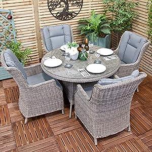 Oren Athens 4 Seater Round Rattan Dining Set with Grey Cushion