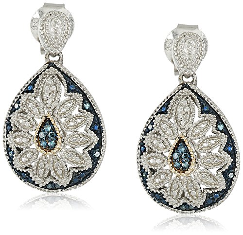 Sterling Silver and 14kt Yellow Blue Diamond Pear Shape Art Deco Earrings (Twist Shape Pear Earrings)