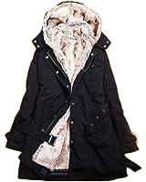WantDoレディースコート あったか裏ボア 取り外し可能 ウォーム冬の防寒対策 フードファー付き アウトドアコート