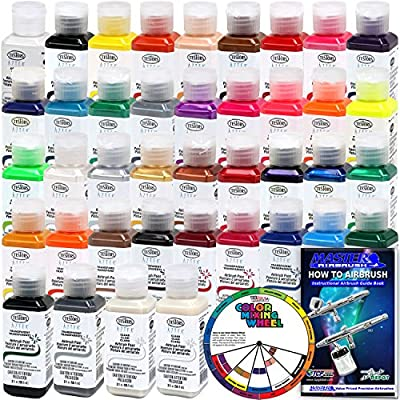 TESTORS - AZTEK Premium COMPLETE Acrylic Airbrush Paint ALL 38-Color Set with FREE Color Wheel & How to Airbrush Manual