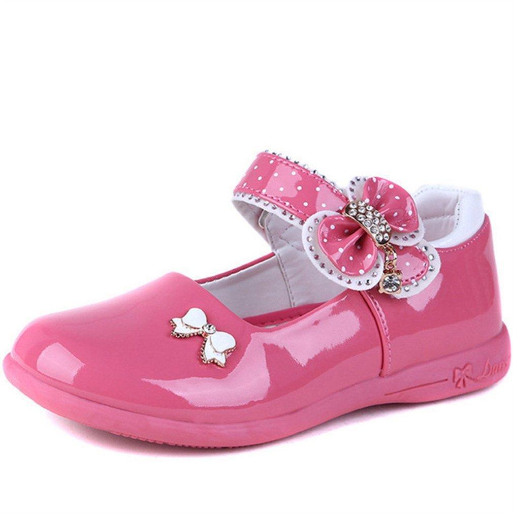 CYBLING Girls Mary Jane Flats Bow Decor Strap School Uniform Shoes (Toddler/Little Kid)