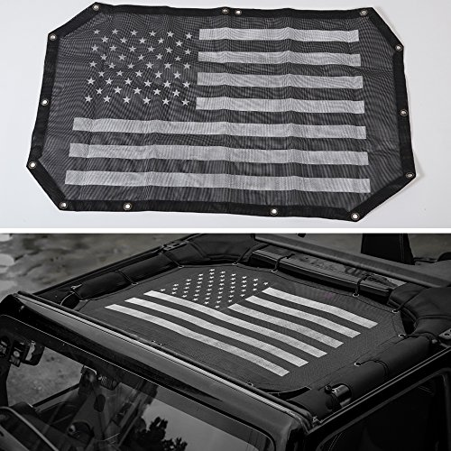 Sunshade Eclipse (BORUIEN 2-Door Mesh Eclipse Sunshade UV Protection Bikini Top Net Covers Front Passengers for Jeep Wrangler 2007-2016)