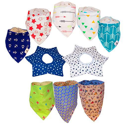 10-Pack Practical Baby Bandana Bibs for Drooling and Teething Cotton Baby Shower Gift Idea Set for her Holiday Christmas Gift Idea