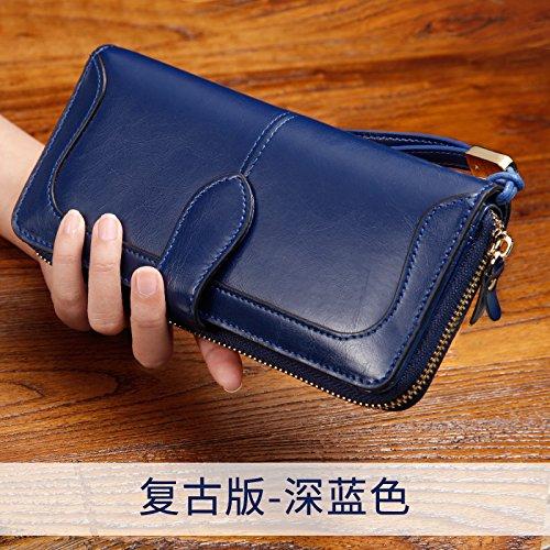GUNAINDMX Geldbörse Geldbeutel Portemonnaie Damen Brieftasche Lange Abendessen Tasche Damen Clutch Wallet Wallet Dark blue