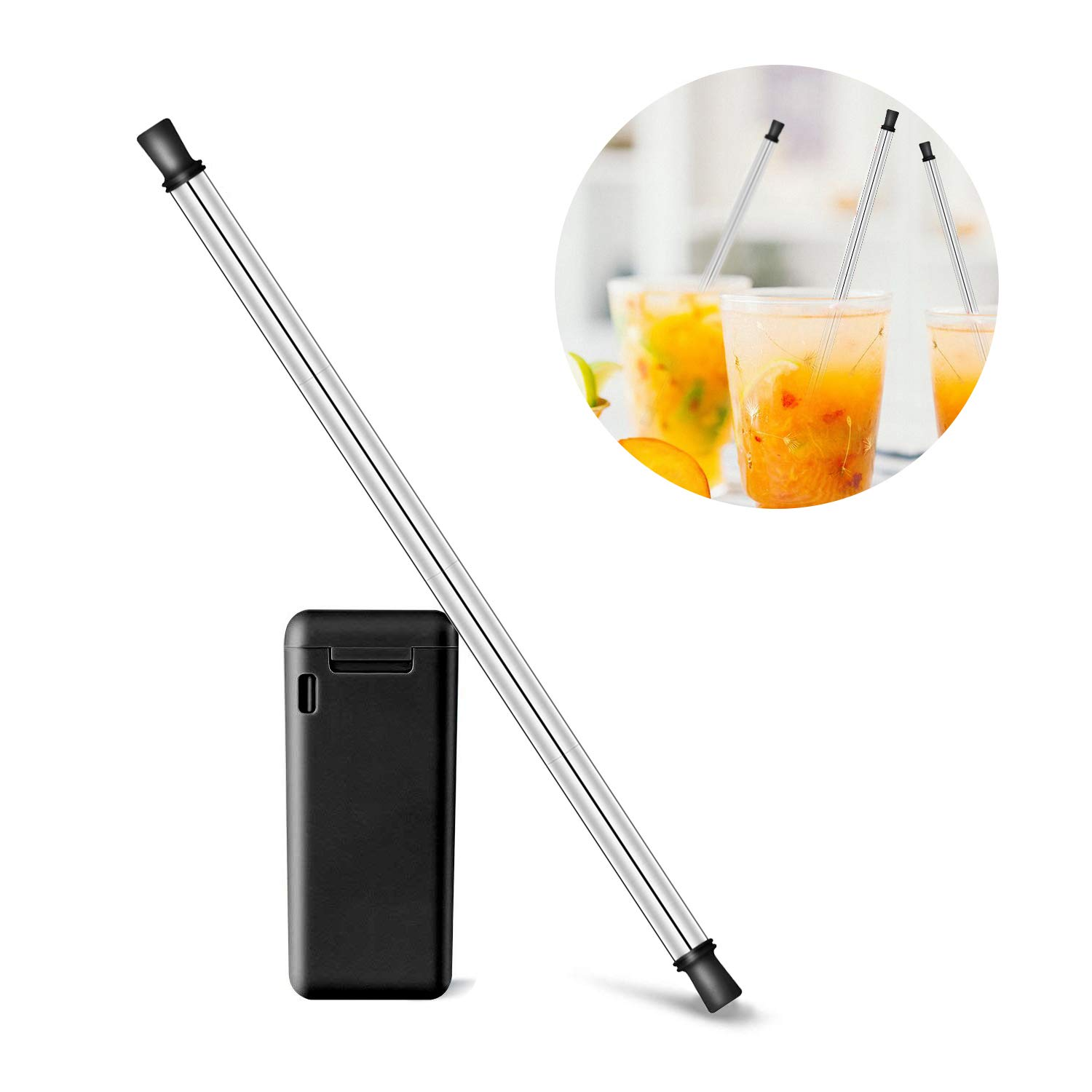Collapsible Reusable Straw, Agde Folding Straw Stainless Steel Metal Drinking Straw Portable Silicone Tip Final Straw BPA Free with Keychain Case Magnetic Lid Cleaning Brush For Travel and Household