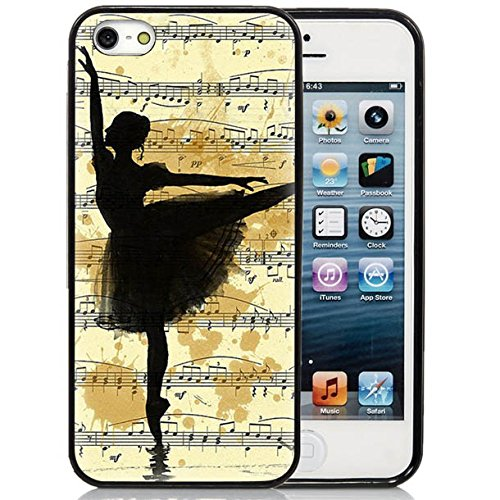 Price comparison product image iPhone 5S Case, iPhone 5S Black Case,  Dsigo TPU Full Cover Protective Case for New Apple iPhone 5S - Retro sheet music and dancers