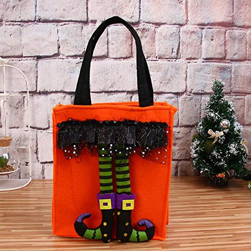 Halloween Trick-or-Treat Pumkin Candy Bag With witch legs Orange Goody Bag,Children's Costume Accessory Party Decoration (Witch Pumkins)