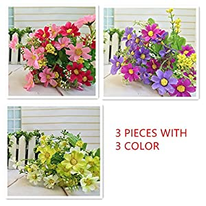 RayLineDo 3 Bunches of Cineraria Artificial Flower Bouquet Home Office Decor (Light yellow and White/ Light Purple/Rose Pink) 20