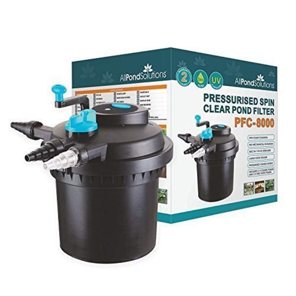 8000 Litre All Pond Solutions Pressurised Koi Fish Pond Filter UV Steriliser for PFC, 8000 Litre