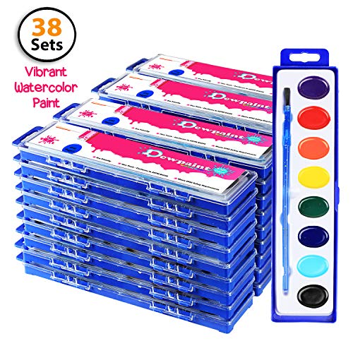 Bulk Water Color Paint Party Pack - Jumbo Set of 38 - Oval -