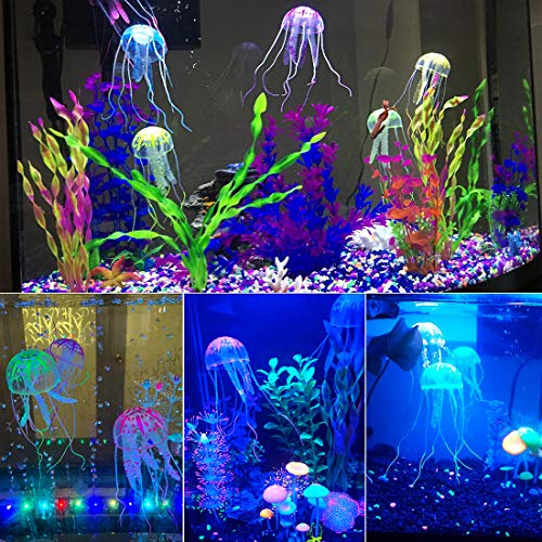 Uniclife 6 Pcs Glowing Jellyfish Ornament Decoration For Aquarium Fish Tank Amazon In Pet Supplies