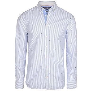 f736c9b9 Tommy Hilfiger Ithaca Dobby Stripe Shirt in Blue: Amazon.co.uk: Clothing