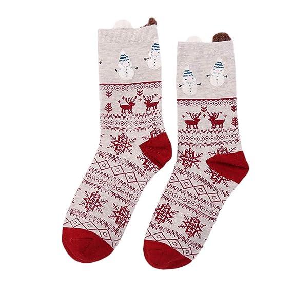Amphia 1 Par De Mujeres Navidad Calcetines, Calcetines AlgodóN ImpresióN Multicolor De Snowman Elk Calcetines De Invierno Calcetines Dibujos Running: ...