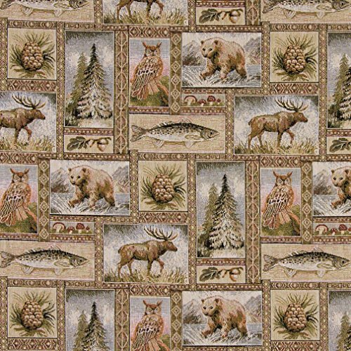 A024 Rustic Bears Moose Trees Acorns And Fish Themed Tapestry Upholstery Fabric By The Yard