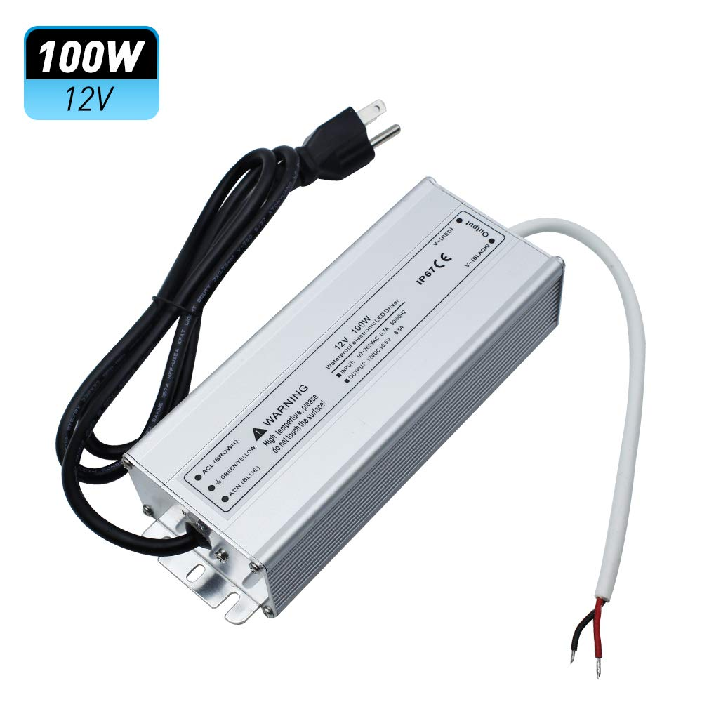 LightingWill Waterproof IP67 LED Power Supply Driver Transformer 100W 110V AC to 12V DC Low Voltage Output with 3-Prong Plug 3.3 Feet Cable for Outdoor Use by LightingWill