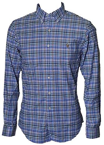 Polo Ralph Lauren Men's Stretch Oxford Slim Fit Sport Shirt, Blue Checked, - Exchange Ralph Lauren