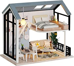 Fsolis DIY Dollhouse Miniature Kit with Furniture, 3D Wooden Miniature House with Dust Cover, Miniature Dolls House kit (QL02)