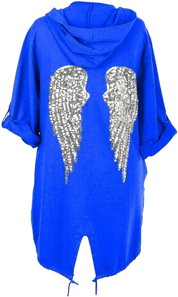 janisramone Womens Ladies New Sequin Angel Wings Back Baggy Oversized Hoodie Cardigan Jacket Sweatshirt Top