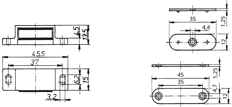 2 St/ück mit Gegenplatte schwarz T/ürmagnet SIMON Magnetschn/äpper 4 kg Haltekraft Schnapper M/öbelmagnet Magnetverschluss
