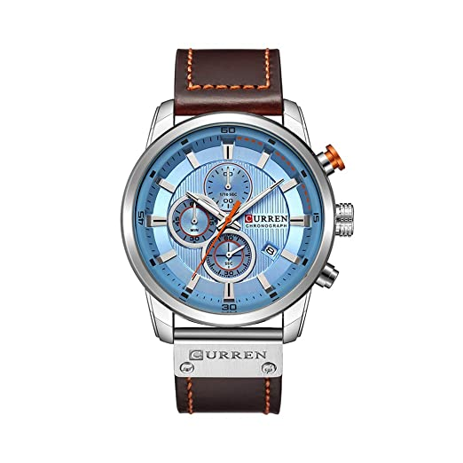 POJIETT Reloj Hombre Caballero Chico Deportivo Impermeable Reloj Pulsera de Cuarzo Analogico Correa de Cuero Reloj