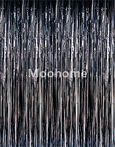 Moohome 2 Pack 3ft x 8ft Black Foil Fringe Curtains Backdrop Door Window Curtain Party Decoration