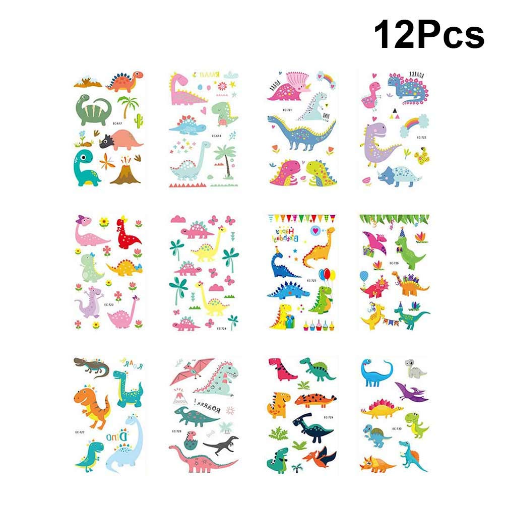 YeahiBaby 12 Sheets Cartoon Dinosaur Temporary Tattoos Waterproof Animal Stickers Party Favors for Boys Girls