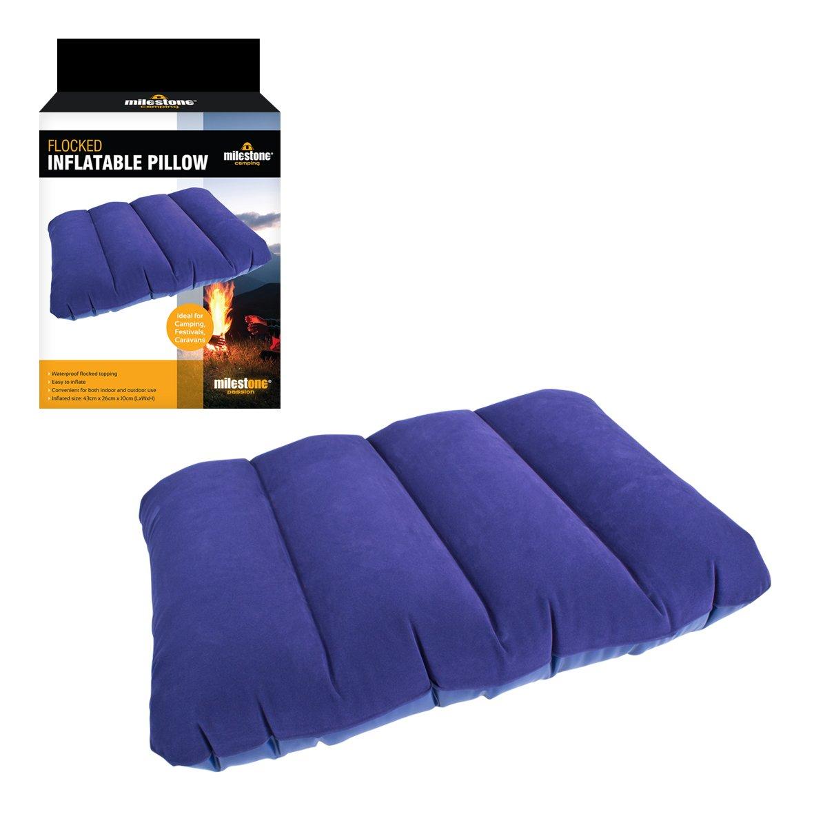 Almohada de viaje inflable Milestone Camping - Azul Benross Rect-Plw-2
