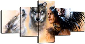 American Indian Decor 5 Piece Canvas Wall Art Indian Warrior Accompanied with Wolves Paintings Pictures Home Decor for Living Room,Artwork Framed Gallery-wrapped Stretched Ready to Hang(50''Wx24''H)