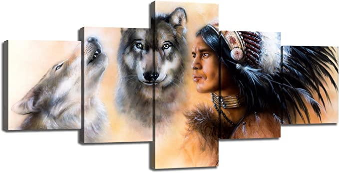 American Indian Decor 5 Piece Canvas Wall Art Indian Warrior Accompanied With Wolves Paintings Pictures Home Decor For Living Room Artwork Framed Gallery Wrapped Stretched Ready To Hang 50 Wx24 H Posters Prints Amazon Com