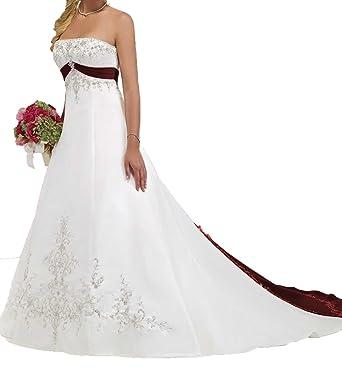 O D W Handgefertigt Damen Gestickt Lange Vintage Hochzeitskleider A
